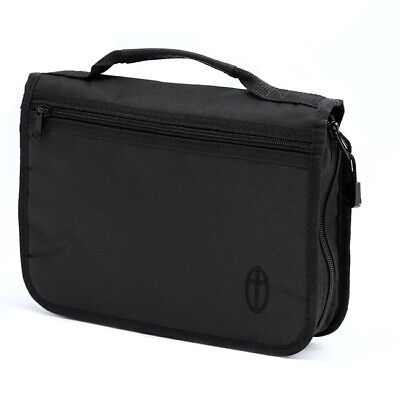 Large Bible Cover, Black Canvas Bag Case with Embroidered Cross Design