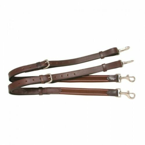 Tough 1 Brown Leather Side Reins w/Elastic Ends 52-53