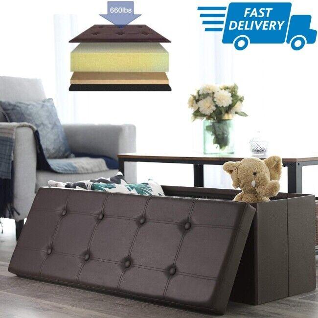 Songmics Faux Leather Folding Storage Ottoman Bench 43 1/4L,