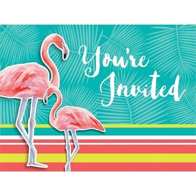 Hawaiian Luau Party Island Oasis Flamingo Post Card Invitations 8 Pack