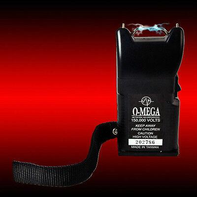 O-MEGA SECRET AGENT STUN GUN, HIGH AMPS, 150,000v (BLACK HOLSTER)