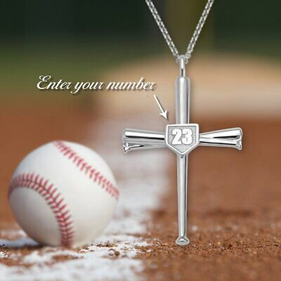 Sports Number Necklace (Cross Necklace Baseball Bats Athletes Cross Pendant Sports Number Or)