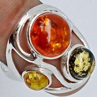 ORANGE GREEN & YELLOW BALTIC AMBER IN HALLMARKED SILVER RING Sz8