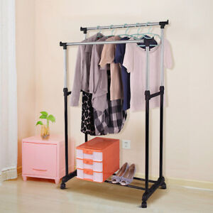 Double Clothes Rail Garment Coat Shirt Hanging Stand On Wheels with Shoe Rack