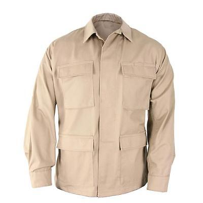 (Khaki BDU Style SHIRT Military Army Marine Corps Navy Security Engineer S-2X)