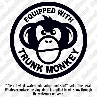 EQUIPPED WITH TRUNK MONKEY Vinyl Decal Sticker Button Funny Meme Chimpanzee JDM
