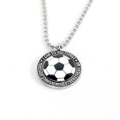 "Forgiven Jewelry Soccer Necklace on 24"" Chain- I Can Do All Things Phil 4:13"