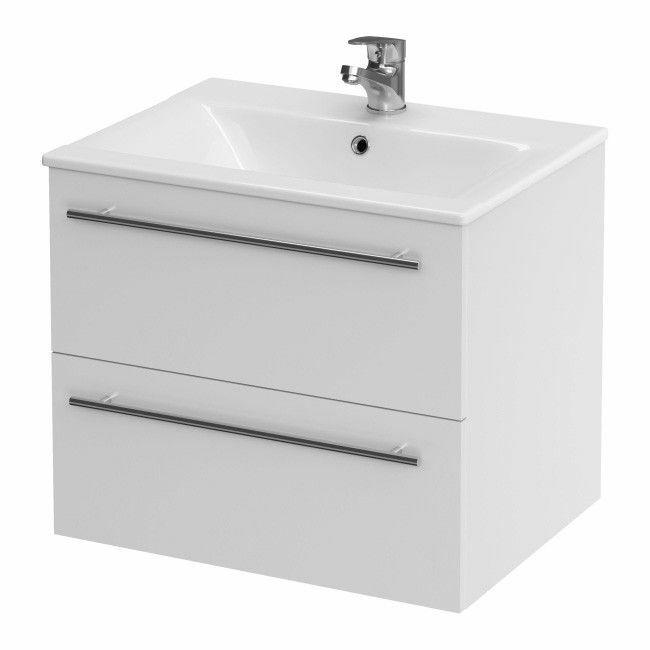 Badmöbel Waschbecken mit Unterschrank Waschtisch Schubladen Weiß 50 cm NEUWARE