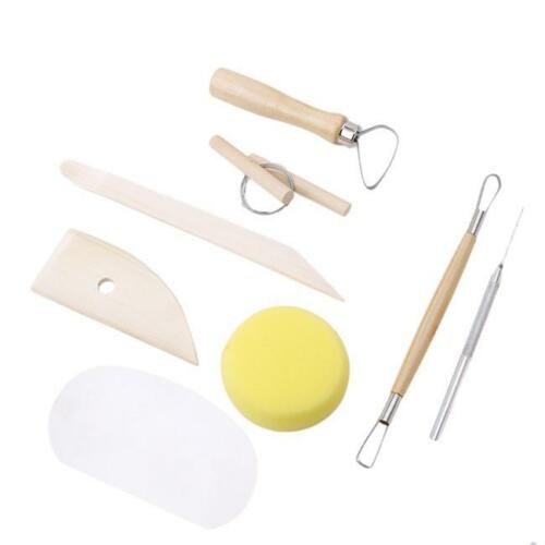 8Pcs Pottery Clay Sculpture Carving Modelling Ceramic Hobby Tools Art Craft Kit