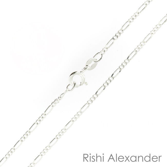925 Sterling Silver 2mm Petite Figaro Chains Italy Stamped .