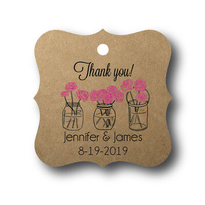 24 Mason Jar with Flowers - Personalized Wedding Favor Tag](Mason Jar With Flowers)
