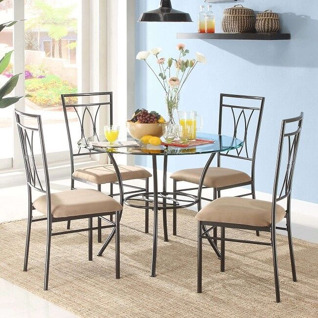 "Mainstays 5-Piece Glass and Metal Dining Set 42"" Round Table"