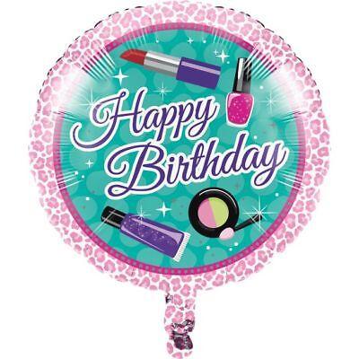 Sparkle Spa Happy Birthday Makeup Foil Balloon Girls Sleepover Birthday Party