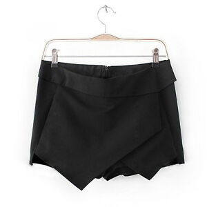 HOT!  Women Shorts Wrap Mini Skirts With Invisible Zipper Irregular Skort O