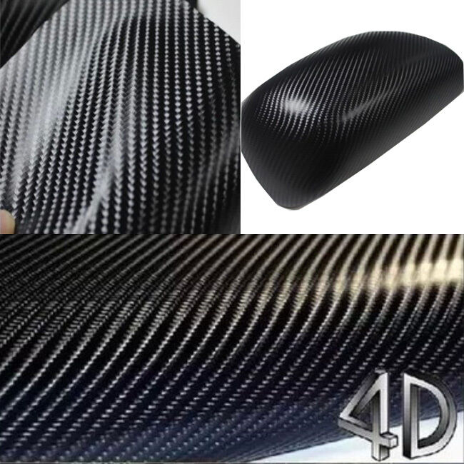 Premium 4d carbon folie selbstklebend schwarz gl nzend 50 for Folie selbstklebend