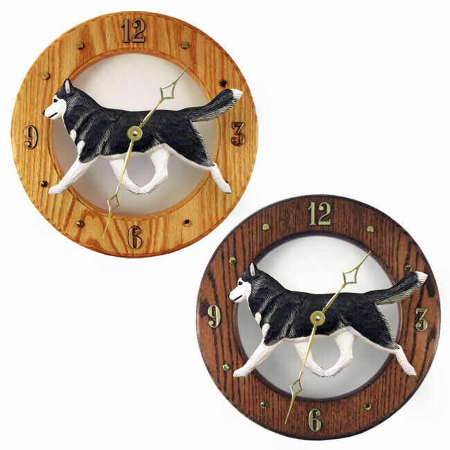 Husky Wood Clock Black/White