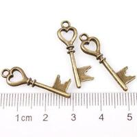 Bronze Hollow Heart Keys Charms Alloy Pendants – 28x8x3mm