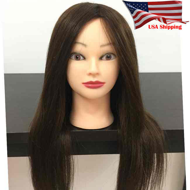 "Clearance!!! 24"" 100% Real Hair Practice Mannequin Doll Training Head with Clamp"