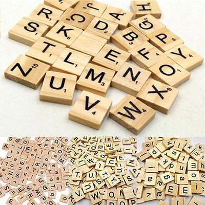 100 Wooden Pieces Alphabet Scrabble Tiles Black Letters Numbers For Board Gift W