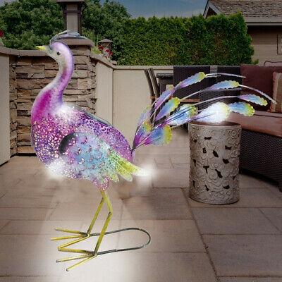LED Solar Metall Gartenfigur Pfau Vera 55 cm Gartendeko Metallfigur Vogel