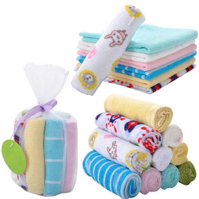 8Pcs/Set Soft Cotton Baby Newborn Bath Towel Washcloth Feeding Wipe Cloth shan