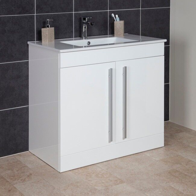 Brand New Gloss White Bathroom Vanity Unit With Sink 900mm
