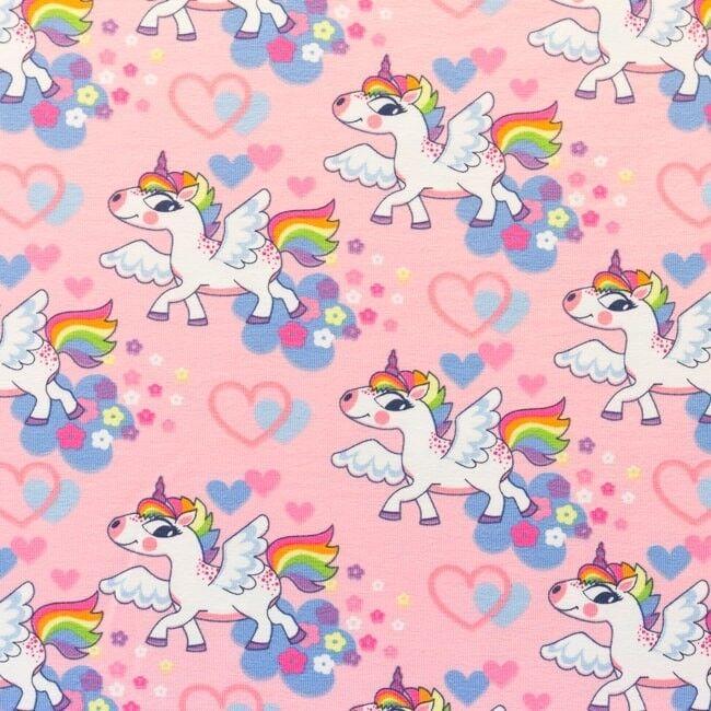 Baumwolle jersey Herz Einhorn rosa