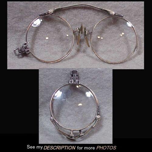 Antique 1890s Pair Pince Nez Lorgnette Folding Bi-Focal Eyeglasses Spectacles