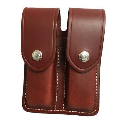 Gun Mate Old World Leather Magazine Case, Double Mag, Double Row, Brown Double Row Magazine Case