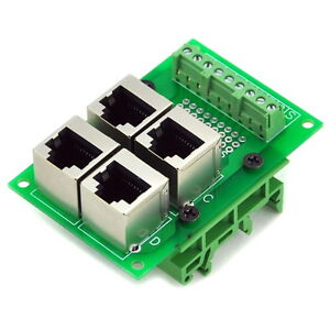 RJ45-8P8C-4-Way-Buss-Board-Interface-Module-with-Simple-DIN-Rail-Mounting-feet