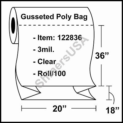 3 Mil Gusseted Poly Plastic Bag 20x18x36 Clear Fda Approved Roll100 122836