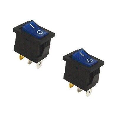 """2x Blue On/Off Rectangular Car Boat 120V Rocker Switch LED Light SPST 1/2""""x3/4"""""""
