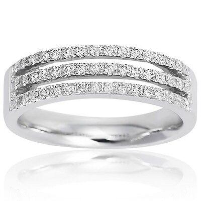 1.17CTW BRILLIANT STONES THREE ROW SIMULATED DIAMOND BAND RING size 5,6,7,8,9,10
