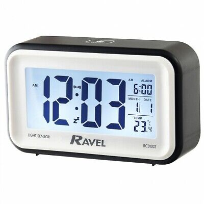 Quartz LCD Touch Sensitive Snooze and Light Features Alarm Clock - BLACK