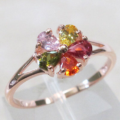 MULTI STONE 925 STERLING SILVER ROSE GOLD TONE RING SIZE 5-10