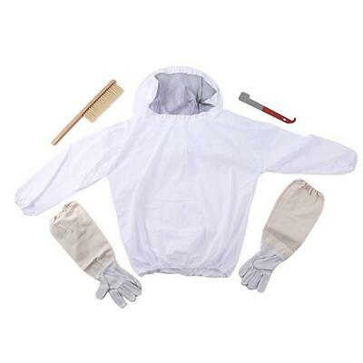 Beekeeping Suit Bee Honey Keeping Equipment Gloves Hive Brush Hook Veil Set Hs3