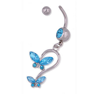- one Dangle butterfly Rhinestone Silver&blue Crystal Navel Belly Button Ring hs8