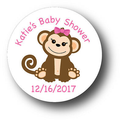 30 Baby Girl Monkey With Name Personalized Baby Shower Favor White Stickers