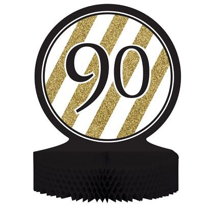 Black and Gold 90th Birthday Honeycomb Centerpiece 90 Birthday Party Decoration](Gold And Black Centerpieces)