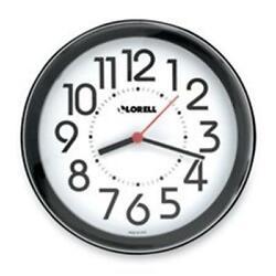 Lorell LLR60990 Wall Clock- 9in.- Arabic Numerals- White Dial-Black Frame