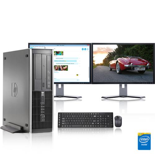"HP Desktop Computer PC Tower Intel Windows 10/7 WIFI Dual LCD Monitor 17""/19"""