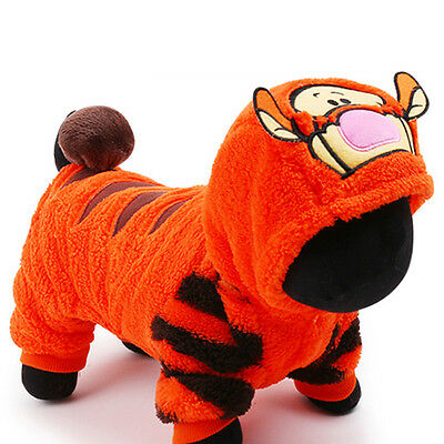 Tiger Costume Winter Pet Dog Jumpsuit Small Puppy Apparel Warm Cat Coat Clothes (Cat Tiger Costume)