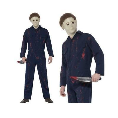 MENS MICHAEL MYERS HALLOWEEN H20 HORROR MOVIE FILM BOILER BODY SUIT FANCY DRESS ()