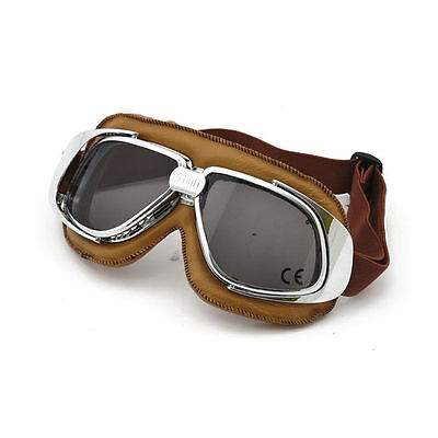 Bandit Classic Goggle, smoked Linse, Motorradbrille, Leder, braun, für Jethelme