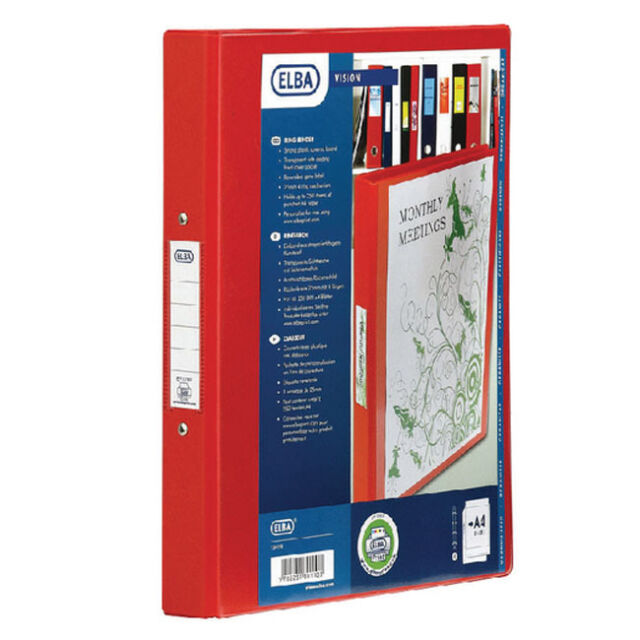 ELBA VISION RED PVC A4 4 RING BINDER / CLEAR FRONT POCKET / 100080880