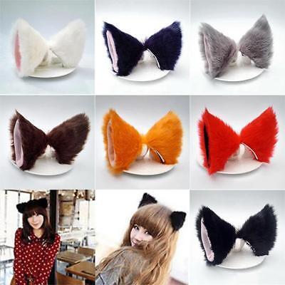 Cat Fox Long Fur Ears Neko Costume Hair Clip Halloween Orecchiette Cosplay DD](Halloween Neko Costume)