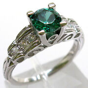 Sterling Silver Emerald Ring Size 9