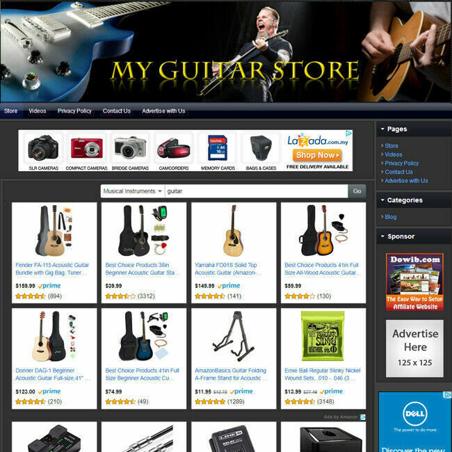 GUITAR STORE, Professionally Designed Online Business eCommerce Website For Sale