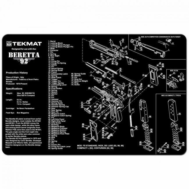 """TEKMAT Beretta 92 CLEAING MAT - 11"""" X 17"""" - Bonus Towel"""