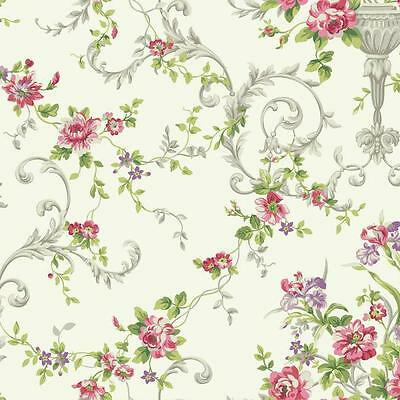 Wallpaper Traditional Victorian Floral Vine Flowers in Urns